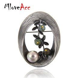 Wholesale Twigs Wholesale - MloveAcc Vintage Style Oval Shape Imitation Pearl Brooch Stones Twig Brooches & Pins Christmas Gifts for Women Lady Jewelry