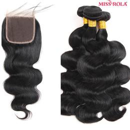 trame de cheveux bohème Promotion Vente chaude 5A bundles brésiliens de cheveux humains 3pcs avec 4 * 4 fermeture (10 12 14 + 8) vague de corps de cheveux humains avec fermeture.