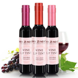 Wholesale Full Bottles - New Arrival Red Wine Bottle Matte lip tint Lip Gloss Waterproof Long Lasting Lipgloss Moisturize Lip Tint Cosmetic Liquid Lipstick 6 Colors