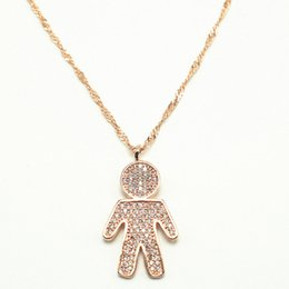 Wholesale Gold Couple Necklaces - Explosive models Upscale European and American boy and girl couple pendants Micro-encrusted diamond-plated rose gold necklace