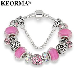 pink cancer awareness beads Promo Codes - KEORMA Antique Silver bracelets for women Murano Glass Bead Crystal New Breast Cancer Awareness Pink Ribbon Charms Bracelet