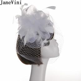 Accessori di velluto dei capelli di nozze d'annata online-vendita all'ingrosso vintage bianco cappello da sposa viso piume di velo fascinator cappelli da sposa cappello da donna accessori per capelli da cocktail robe de soiree