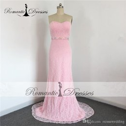 Wholesale Romantic Evening Dresses Women - Sweetheart Pink Lace Mermaid Prom Romantic Dresses Evening Dresses Sequins Beaded Sash Elegant Women Party Gowns