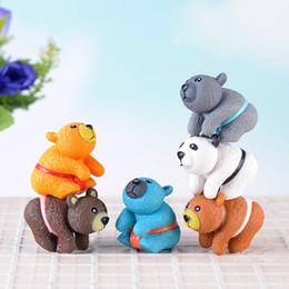 Colorful Gongfu Orso Animale bambola Ornamento Figurine in miniatura Torta fai da te scena accessori materiale fai da te Fairy Garden Moss Terrarium Decorazione da