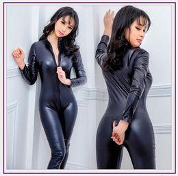 costume rosa della pelle Sconti New Lingerie in pelle sintetica Tuta Sexy Body Tute Donna Pvc Teddy Erotic Zentai Body costumi Costumi in lattice Pole Dance Tuta
