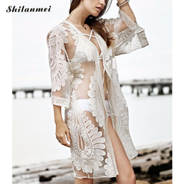 f9ea35a41c879 kimono beach fashion Coupons - Women Blouses White Floral Embroidered Sexy  Mesh Long Kimono Cardigans Long