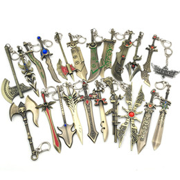 Wholesale Lol Key Chains - LOL Game Weapon Metal Keychains Key Chain League of Legends Sword Gun Lol Weapons Pendant Keychain Keyrings Zinc Alloy Keyring 20PCS