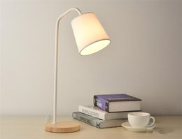 Wholesale Wood Table Desk - Loft European Style LED Table Lamp e27 Retro Wood Iron Reading Study Work Desk Lamps Light Indoor For Bedroom Reading Room fabric shade