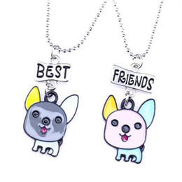 Wholesale Best Dog Gifts - 12pair lot best friends necklace silver tone beautiful colorful pup litter dog charm BFF pendant necklace Children's day gift