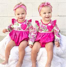 Wholesale Wholesale Long Sleeved Baby Rompers - ins kids full flower print romper baby fly sleeved ruffle jumpsuits newborn love heart print rompers 0-2years free ship B11