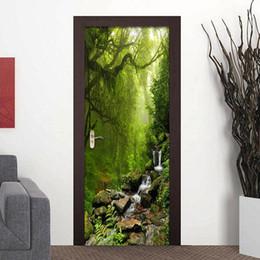 Wholesale Vinyl Roll Doors - 3D Wall Paper Creative Nature Landscape Door Mural Wallpaper PVC Self Adhesive Waterproof Vinyl Door Poster Wallpaper Sticker 3D