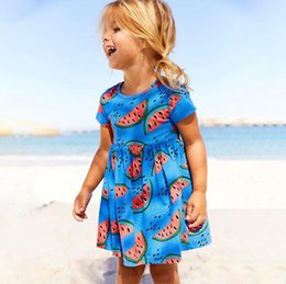 Wholesale wholesale red dress - New summer dresses for girls o neck 18M-6 years party costumes for kids red pattern baby girl clothes dresses baby clothing Made In China