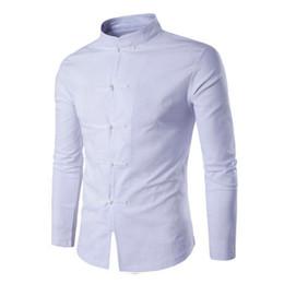 Tang Suit 2018 Moda Casual Solid Mandarin Collar de manga larga camisa de lino  Hombres Slim Fit Social Dress Shirt Blanco Negro cadc0c104168