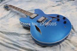 Wholesale Guitarra Custom Shop - Custom Shop Dave Grohl 335 Metallic Pelham Blue Semi Hollow Body Jazz Electric Guitar Guitarra Double Diamond Holes, Split Diamond Inlay