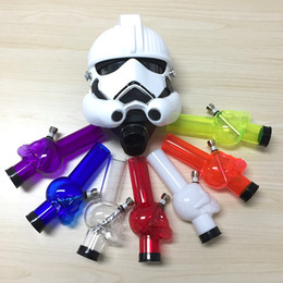 Wholesale Masks Custom - HOT Bongs Water Pipe with Silicone Gas Mask Star Fighter Style Removable Acrylic Bong White Mask and Random Pipes Custom Made Mask