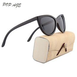 Wholesale Female Popping - POP AGE Retro Cat Eye Sunglasses Women Oculos Black Wood Sunglasses Female UV400 Polarized Sun Glasses for Women GB062