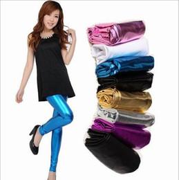 Wholesale Metal Tights - Leggings Bright Skin Metal Jeggings Skinny Plus Size Slim Pencil Pants Women Elastic Legging Lady Sexy Stretch Tights Hot Foot Pants B3755