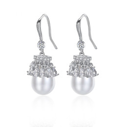 Wholesale Pearl Jewelry Manufacturers - Europe and the United States fashion jewelry skirt wave earrings AAA zircon Korean pearl tassel female earrings manufacturers gift earrings