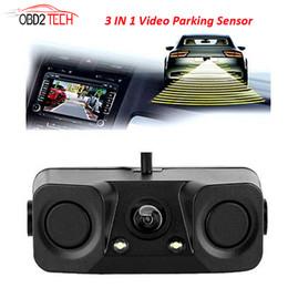 Wholesale video alarms - 170 Degree 3 IN 1 Video Parking Sensor Car Reverse Backup Rear View Camera with 2 Radar Detector Sensors BiBi Alarm Indicator