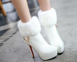 Saltos de pele de coelho on-line-Sapatos de salto alto Sapatos De Casamento Pele De Coelho Fluff Slimmer Heel Botas De Neve Engrossar Inverno Quente De Noiva