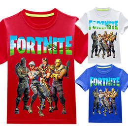 Wholesale kids girls - Baby boys girls Fortnite print T-shirts 2018 summer shirt Tops cotton children Tees kids Clothing 36 colors DHL C4505