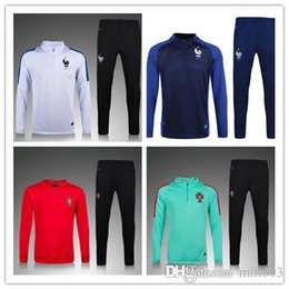 Wholesale Mens Sports Wear Clothing - 2016 2017 Portugal France soccer tracksuit 16 17 PORTUGAL Long sleeve Training suit pants football training clothes sports wear mens Sweater