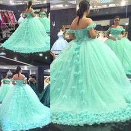 Wholesale light up pink ribbon - 2018 Mint Green Quinceanera Ball Gown Dresses Off Shoulder 3D Rose Flowers Lace Corset Back Sweep Train Puffy Tulle Party Prom Evening Gowns
