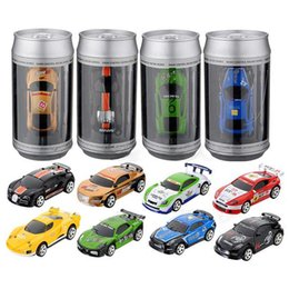 Wholesale car remote control frequency - 20KM H Coke Can Mini RC Car 1:58 Radio Remote Control Vehicles Micro Racing Car 4 Frequencies Toy For Children Kids Box packages Vehicles