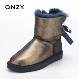 QNZY женщин снегоступы зима теплая плоским дном большие сапоги овчины кожа Botas мех плоские туфли Бесплатная доставка от