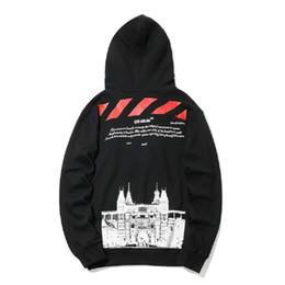 Hip hop street mens ropa online-OFF venta caliente BLANCO de Alta calidad suelta hombres y mujeres con capucha suéter castillo de impresión diseñador de lujo para hombre con capucha moda hip hop Street clothing