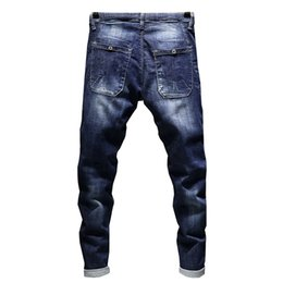 Wholesale Taper Pants Man - Jeans Men's Stretch Biker Ripped Pants Blue Drawstring Slim Fit Tapered Torn Distressed Boys Student Joggers