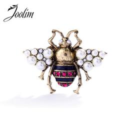 Annata antica del brooch online-JOOLIM 2017 vintage simulato perla berretta spilla pin antico spilla donne gioielli in costume spedizione gratuita