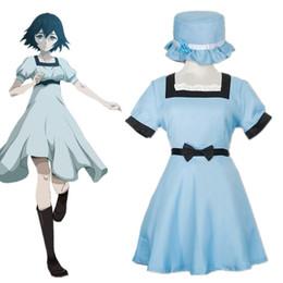 Japão vestidos de festa on-line-Fardas Asiático Tamanho Japão Anime Steins Portão Shiina Mayuri Cosplay Costume Party manga curta Halloween Vestido azul