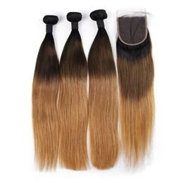 Ombre pelo paquetes parte cierre online-Tres paquetes Ombre 100% rectos brasileños de cabello humano con cierre 1b / 4/27 4x4 parte libre Remy Lace Closure