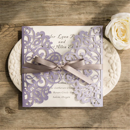 Wholesale Romantic New Year - 2018 European Classic Romantic Lavender Laser Cut Wedding Invitations With Grey Ribbon Bows,Free shipping t