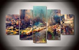 Trafic en direct en Ligne-Peinture à l'aquarelle Ville encombrée trafic voiture Wall Art Toile Modulaire Photos Sans Cadre 5 Pcs Mur Photos Pour Le Salon