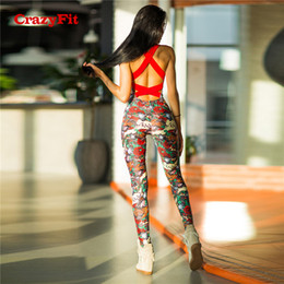 Un pezzo jumbo floreale online-CrazyFit 2018 One Piece Sexy Sport Suit donne imbottite Floral Print Yoga Workout Clothes Running Set Jogging Gym Abbigliamento tuta