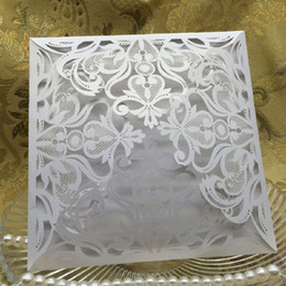 Wholesale birthday party business - Wholesale-10Pcs set Romantic Wedding Party Event Invitation Card Birthday Business Party Invitation Cards Envelope Delicate Carved Pattern