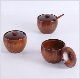 Discount salt boxes - Wood Seasoning Salt Cans Pot Salt Shaker Box Tin Pepper Shakers Salt Pigs Wooden Sause Pot OOA4354