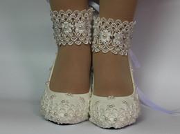 zapatos blancos abiertos de la boda de la perla Rebajas Cordón blanco marfil cristal perla punta abierta Zapatos de boda Talón de novia talla 5-9
