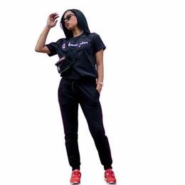 7ab7a889cb 2019 marcas de roupas de ginástica feminina Mulheres Treino Outono camiseta  de Manga Curta Calças Justas