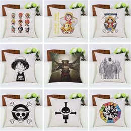Wholesale Japanese Anime Fabrics - Fashion Home Decorative Japanese Anime Manga One Piece Office Bed Sofa Linen Square Vintage Throw Pillow Case 18x18Inch