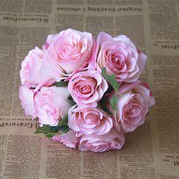 2019 fã de ouro rosa Barato muitas cores flores de alto nível país do casamento buquê de noiva com mistura Artificial rose flor estilo shiping livre para o casamento
