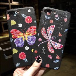 Wholesale Free Dragonfly - For iphone X cell phone case with iphone 8 7plus 6 6s case Dragonfly Silicone TPU protective shell factory wholesale price free shipping