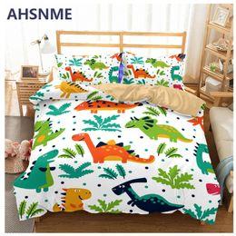 загородное постельное белье Скидка AHSNME Cartoon dinosaur bedding set T-Rex paern Quilt Cover boy's favorite home textiles Multi-country size for AU/US/EU/RU