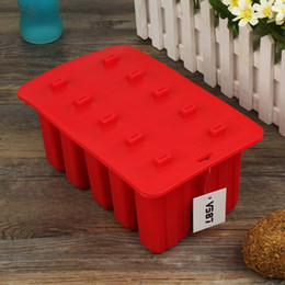 Wholesale Plastic Moulding Supplies - V587 10 Grids Silicone Popsicle Mold Ice Cream Tray Ice Pop Mould With Cover Kitchen Mold Ice Cream Maker Summer Supplies