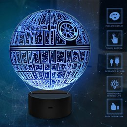 Wholesale Death Stars - Death Star 3D USB LED Night Light Lamps 3D Optical Illusion 7 Colors Touch Table Desk Visual Lamp Gifts Toys for Children Kids