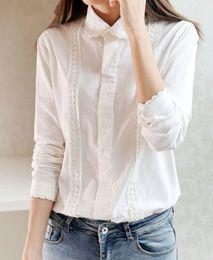 Wholesale white blouse peter pan collar - White Blouse Collection 13 Pattern Women Cotton Lace Crochet Peter Pan Collar Long Sleeve Top Shirt Plus Size S-4XL T5437