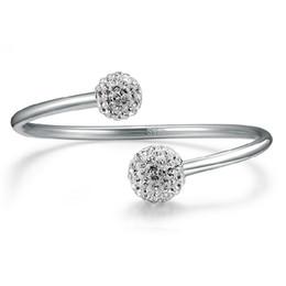 Wholesale Wholesale Brass Cuff Bracelets - cuff Brand Luxury Jewelry Silver Plated Bracelets Bangles Female Open Bangles CZ Crystal Charms Bracelets for women drop ship 320071