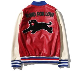 Wholesale Leather Baseball Jacket Women - Blind for Love Embroidery Leather Bomber Jacket Men Women 2017 Autumn Streetwear Color Block Men's Jackets Baseball Jacket 6501PG